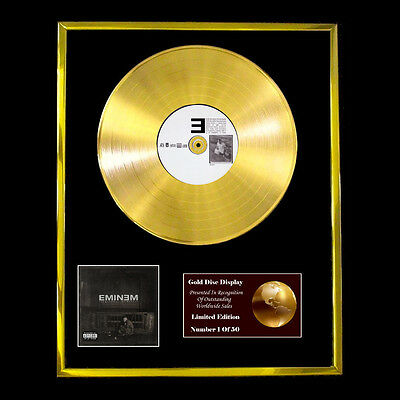 Eminem The Marshall Mathers Lp Cd Gold Disc Vinyl Record  Free Shipping To U.k. • 160.99£