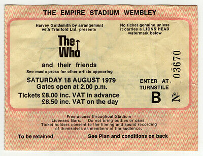 AC DC The Who The Stranglers Vintage Ticket Wembley 1979 • 50£