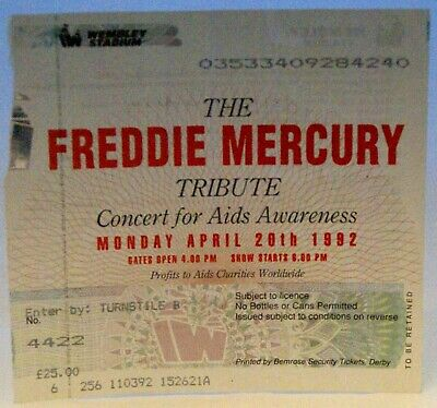 Freddie Mercury Tribute Vintage Ticket + Booking Correspondence Wembley 1992   • 37.50£