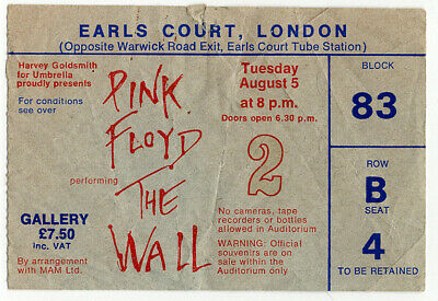 Pink Floyd Ticket Vintage The Wall Earls Court Night 2 1980  • 35£