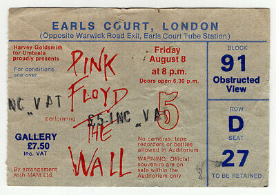 Pink Floyd Ticket Vintage The Wall Earls Court Night 5 1980  • 50£