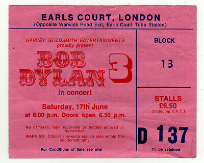 Bob Dylan Ticket Vintage Earls Court Night 3 1978 • 25£