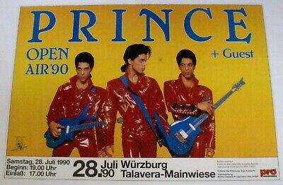 Prince Poster Vintage German Open Air Wurzburg 1990 • 125£