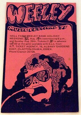 T Rex Marc Bolan Quo Faces King Crimson + Others Flyer Weeley Festival 1971 • 115£