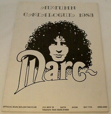T Rex Marc Bolan Official Fan Club Catalogue 1983 • 15£
