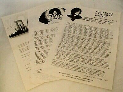 T Rex Marc Bolan Official Fan Club Letters And Order Form Circa Early 80s • 10£