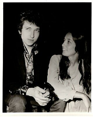 "Bob Dylan Joan Baez Photo  B/W Glossy 10""x8"" Circa Early 60s • 85£"