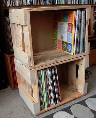 Upcycled Repurposed 12  Vinyl Record Storage Box Crate Holds 100 LPs Stackable • 30£