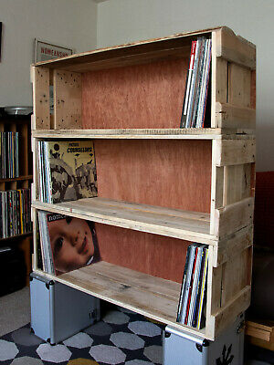 Upcycled Repurposed 12  Record Vinyl Storage Box Crate Holds 200 LPs Stackable • 40£