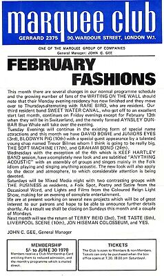 David Bowie Flyer Vintage Marquee Club February 1970 • 175£
