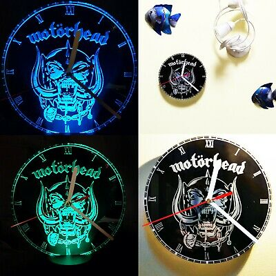 Motorhead Wall Clock / Acrylic Engraved LED Lamp Man Cave Gift • 20£