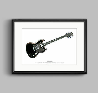 Angus Young's Gibson SG Guitar ART POSTER A2 Size • 27.50£
