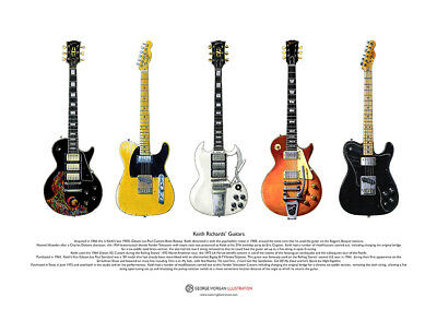 Keith Richards' Guitars ART POSTER A3 Size • 10.99£