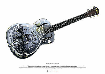 Mark Knopfler's National Style 0 Resonator Guitar ART POSTER A2 Size • 27.50£