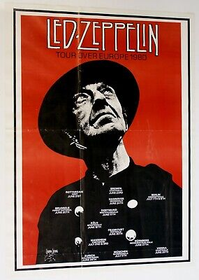 Led Zeppelin Poster Vintage Repro Live Over Europe Tour 1980 • 125£