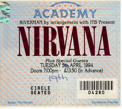 Nirvana Ticket Stub For The Cancelled Brixton Academy Show 5th April 1994  • 225£