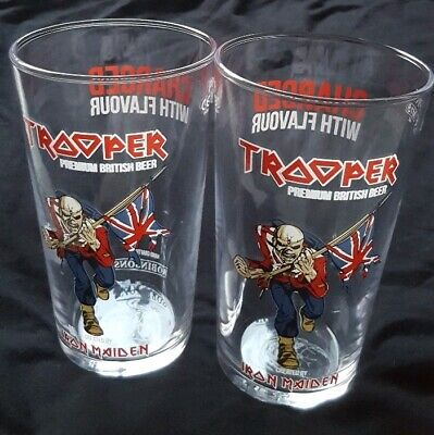 Iron Maiden Official Robinson's Trooper Beer Pint Glasses. Eddie Set PAIR 2 NEW • 20£