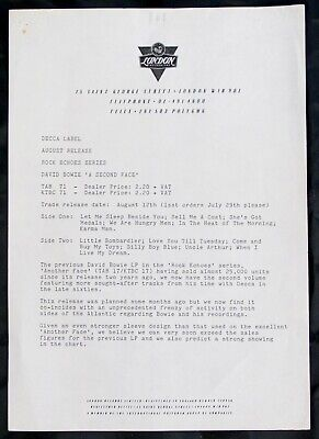 David Bowie Press Release Vintage Decca A Second Face 1983 • 30£