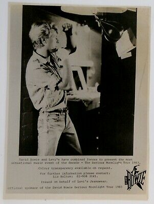 David Bowie Photo B/W 9.5  X 7  Levi's Promo 1983  • 50£