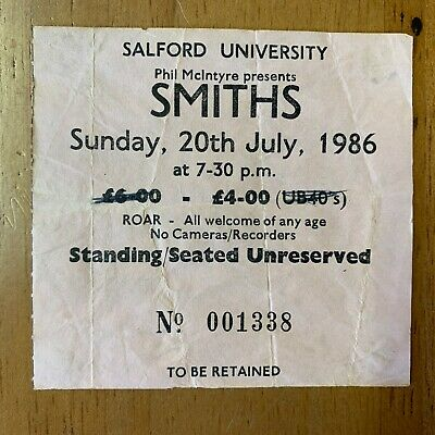 Rare Original Concert Gig Ticket - The Smiths - Salford University 20 July 1986  • 99.95£