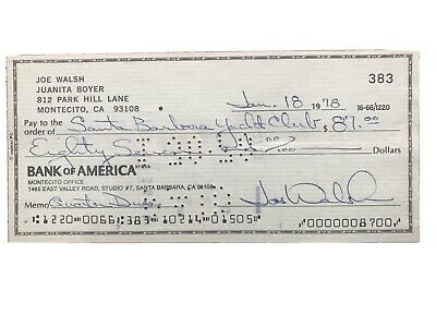 Joe Walsh Signed Cheque... • 150£