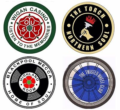 Superb Northern Soul Coaster Set (4 Coasters) - Casino/Wheel/Torch/Mecca • 12£