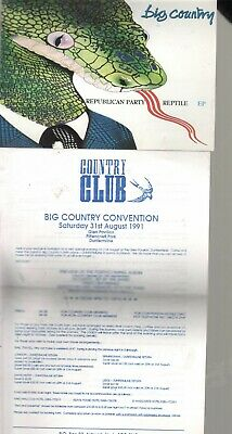 BIG COUNTRY Republic Party Reptile PROMO POSTCARD And 1991 Convention Flyer VG+ • 2.99£