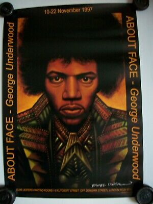 Jimi Hendrix 1997 Art Poster George Underwood London About Face Exhib. Signed. • 75£