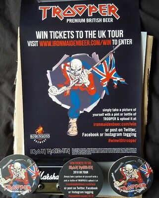 Iron Maiden Trooper Beer Poster UK TOUR And Matching Beer Mats. Brand NEW  • 2£