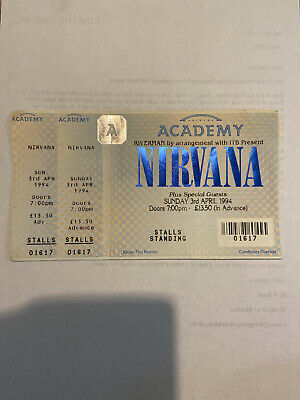 Nirvana Ticket 3rd April 1994 Cancelled With Two Stubs • 40£