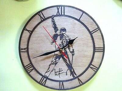 Freddie Mercury Queen Wall Clock  Engraved On Wood Gift Item • 13.50£