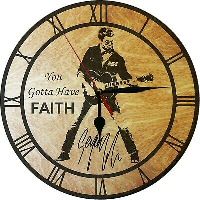 George Michael Faith Wall Clock  Engraved On Wood Gift Item • 13.50£