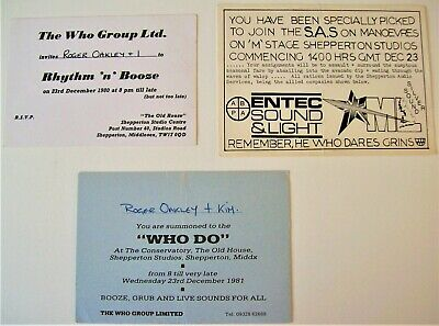 The Who X 3 Special Christmas Party Invites Shepperton Studios Uk 1979-1980-1981 • 80£