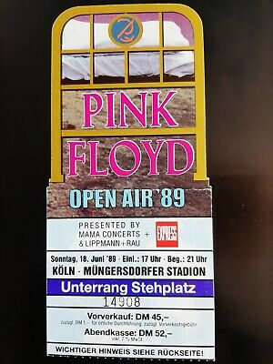 RARE Pink Floyd Open Air 89 Concert Cologne Mungersdorfer Stadion 1989 Ticket • 25£