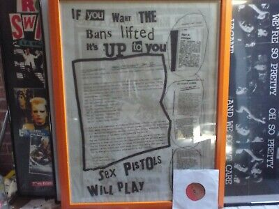 Sex Pistols Will Play Promo Poster Framed Collectable Rare • 20£