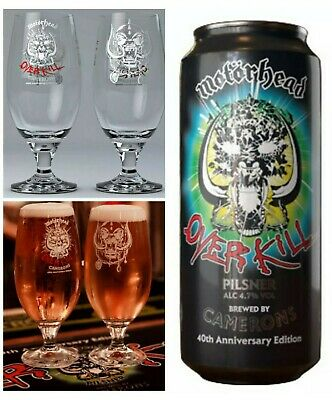 Motorhead Official Road Crew Beer Pint GLASS Chalice + OVERKILL 40th Can. NEW  • 24.95£
