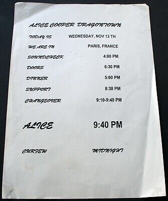 Alice Cooper Running Order Descent Into Dragontown Paris 2002 • 20£