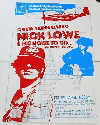 Nick Lowe And His Noise To Go ... Original UK Concert Poster • 15.99£
