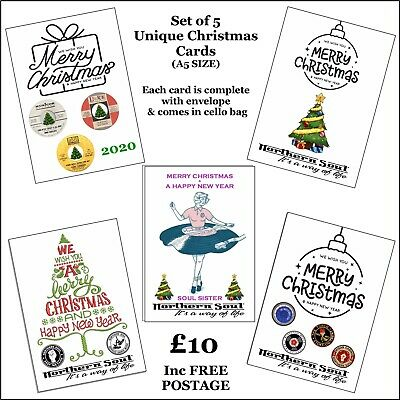Superb & Unique Northern Soul Christmas Card Pack Of 5 Individual Designs • 10£