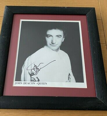 Queen John Deacon Signed Photo Framed • 280£