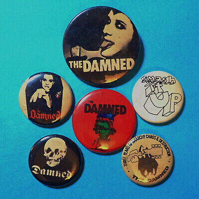 Damned, Pistols, Ramones, Cramps, Clash, Punk Rock, Pin Button Badges, SOME RUST • 20£