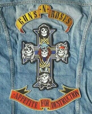 Guns N Roses PATCHES Custom Embroidered Backpatch SET CROSS Cut 3 Piece New • 25.95£