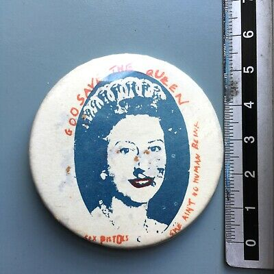 Vintage Sex Pistols God Save The Queen Original 1978 Punk Pin Badge • 26£