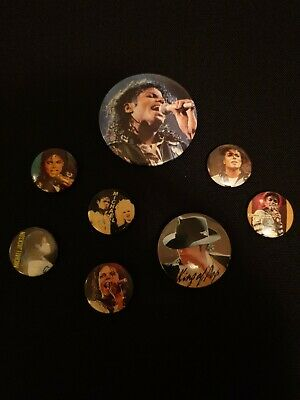 8 Vintage Michael Jackson Metal Pin Badges - All V Good Condition Rare • 5£