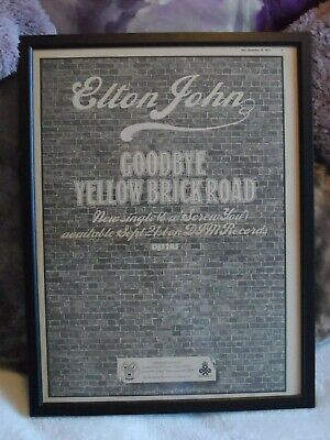 ELTON JOHN Memorabilia FRAMED Original Music Paper ADVERT 1973 • 25£