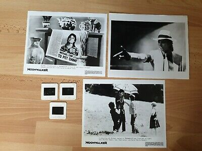 MICHAEL JACKSON 3x PROMO 10 X8  B/W PHOTOS OF MOONWALKER PLUS 3x ORIG FILM CELLS • 19.88£