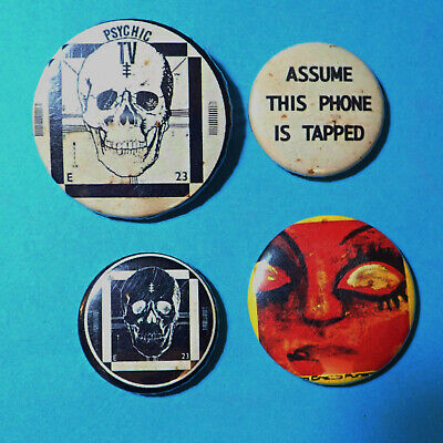 Psychic TV, Throbbing Gristle, TG, Industrial Punk Pin Button Badges, SOME RUST • 15£