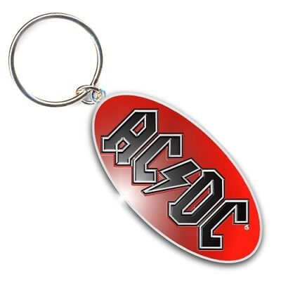 AC/DC Band Logo Image Black Red Metal Oval Keychain Keyring Fan Gift Official • 4.95£