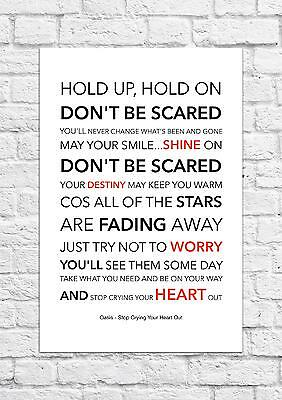 Oasis - Stop Crying Your Heart Out - Song Lyric Art Poster - A4 Size • 6.99£
