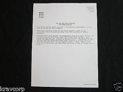Red Hot Chili Peppers 'abbey Road Ep' 1988 Press Release • 18.76£